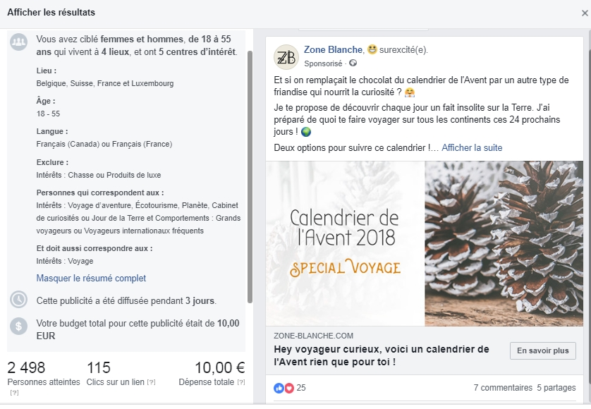 Détail de la publicité Facebook du calendrier de l'Avent de Zone Blanche