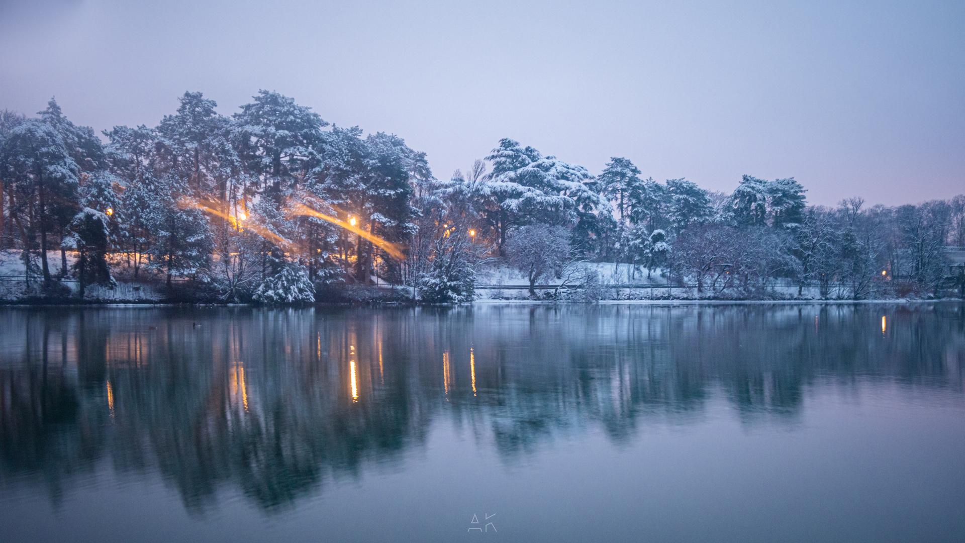 Parc de la Tête d'Or sous la neige